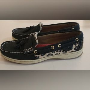 Sperry Top Sider Animal Print Black Tassel Sz 8.5